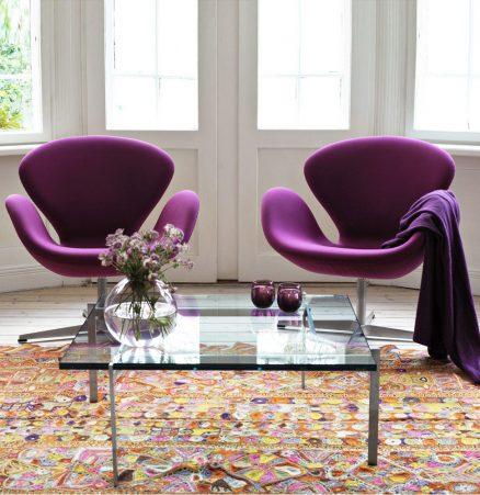 arne-jacobsen-swan-chair-purple-pk61-table-fritz-hansen-jewel-tones