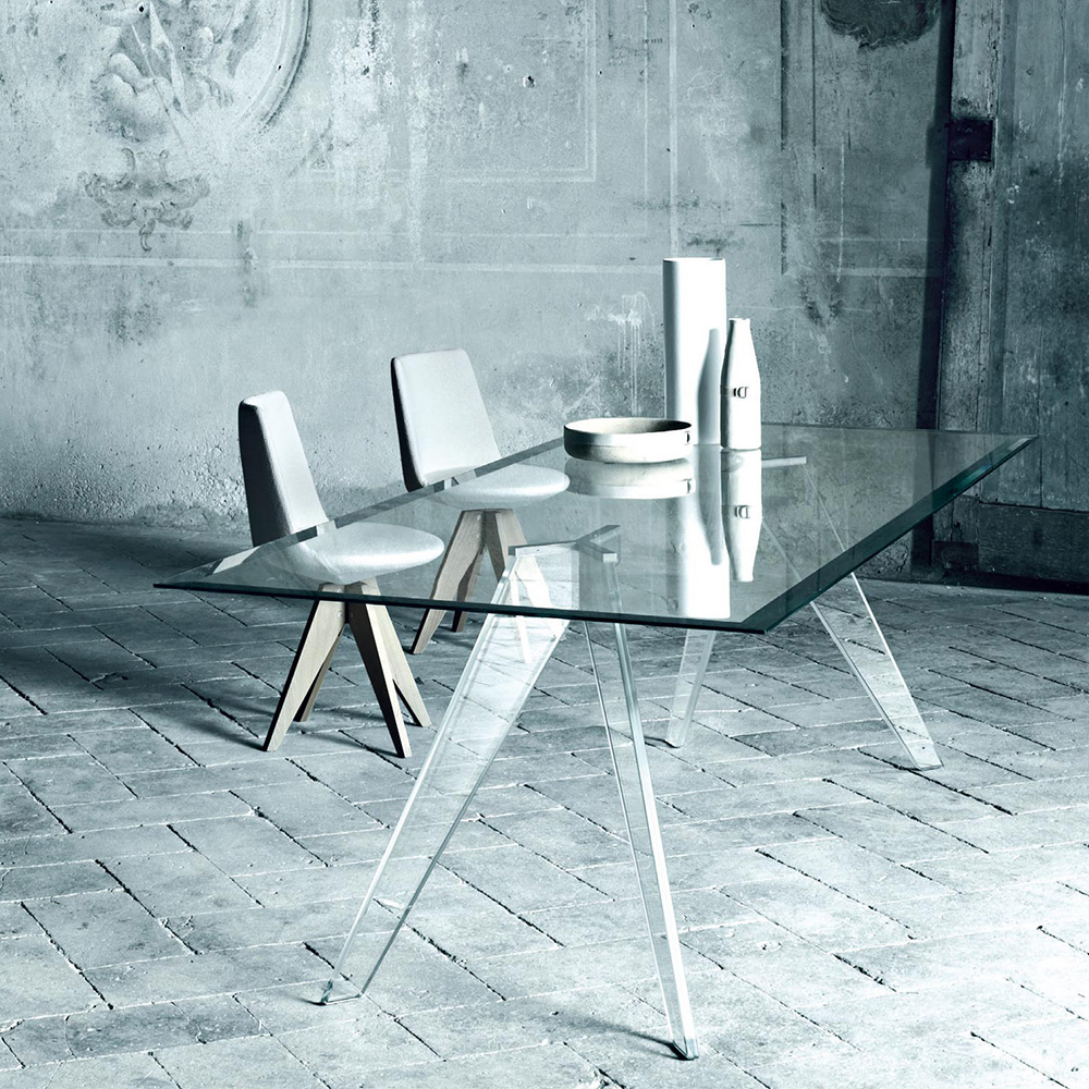 Alister clear glass rectangular dining table Jean-Marie Massaud for Glas Italia