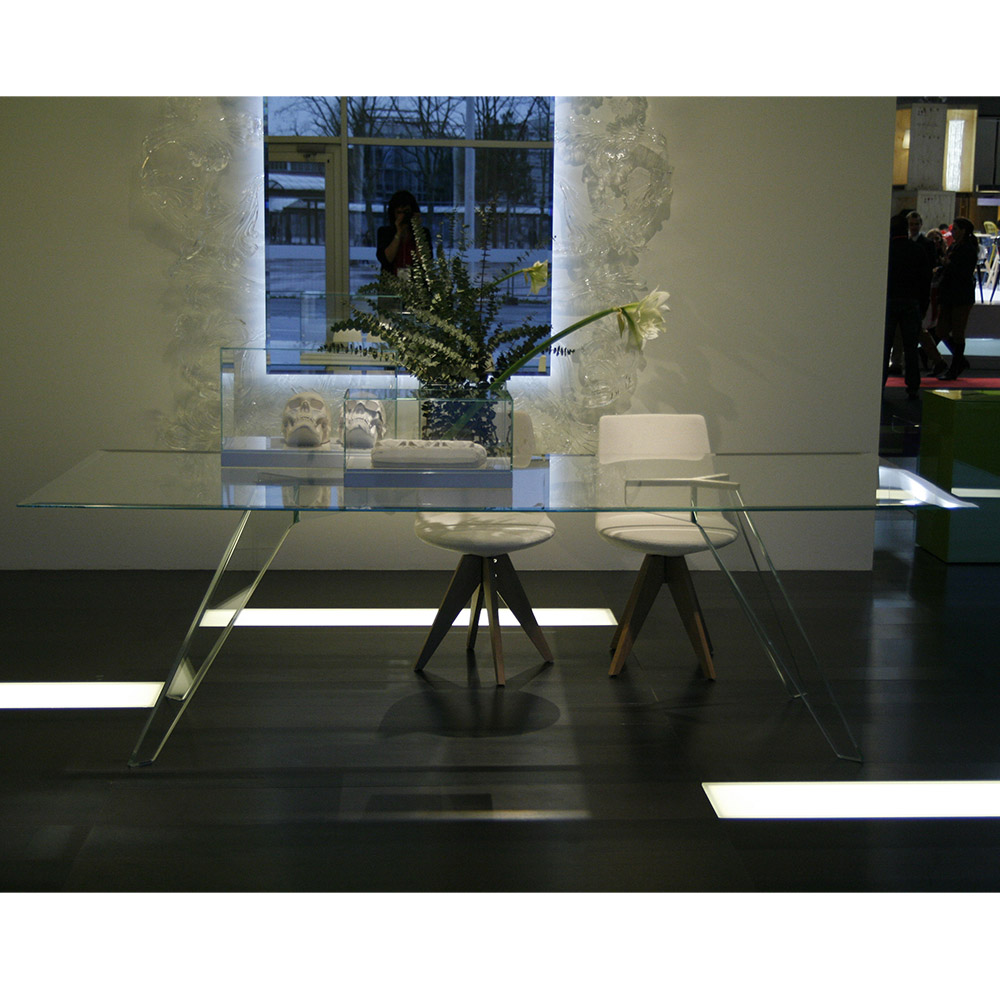 Alister glass rectangular dining table by Jean-Marie Massaud for Glas Italia