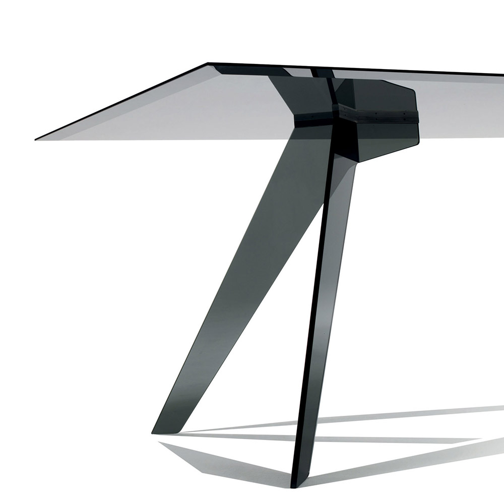 DISCONTINUED Alister rectangular black glass dining table by Jean-Marie Massaud for Glas Italia