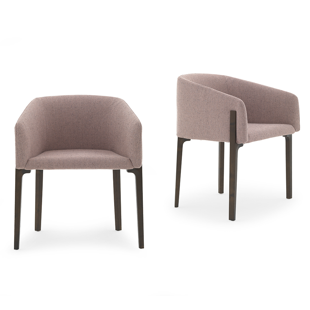 Chesto chair Patrick Norguet DePadova upholstered modern armchair rose
