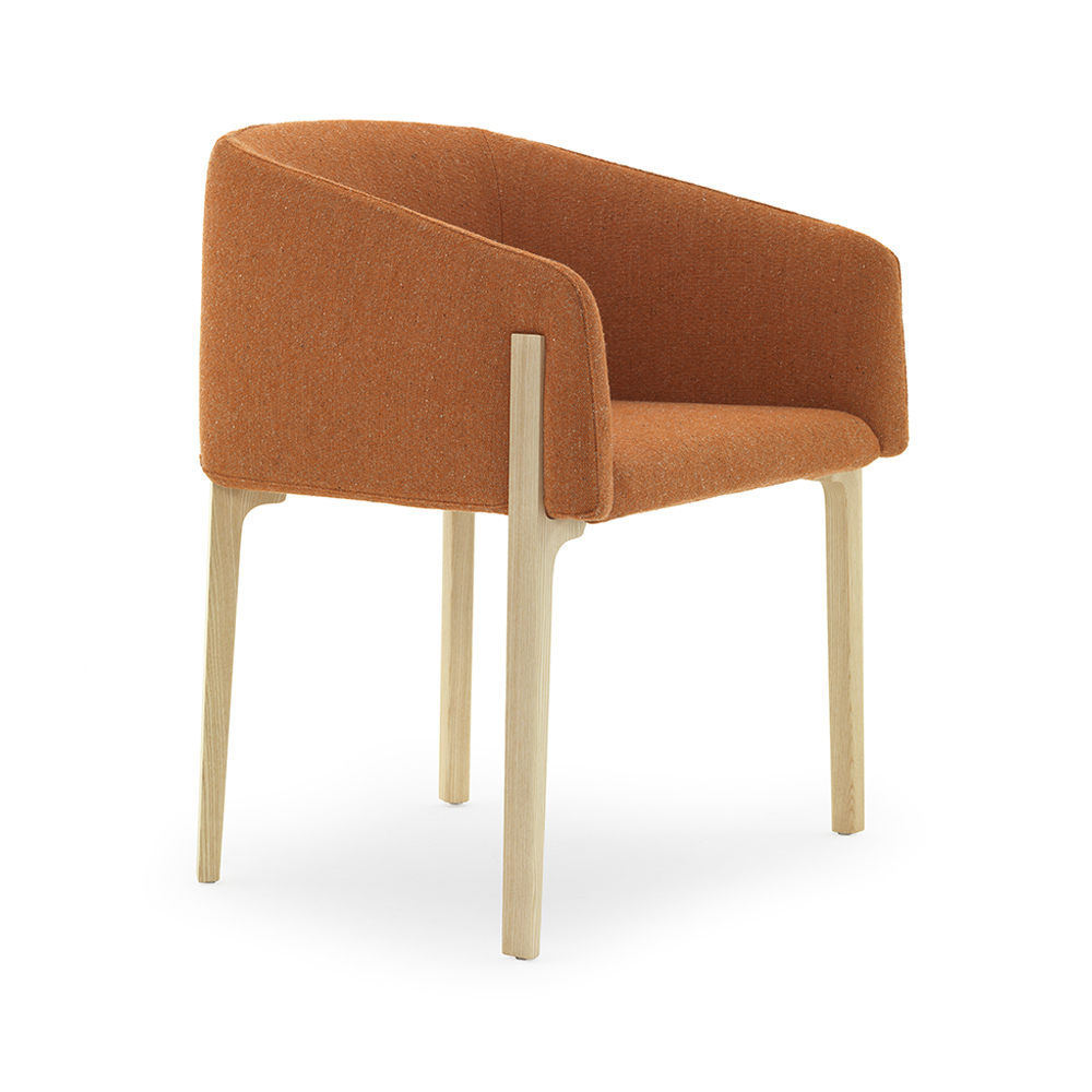 Chesto chair Patrick Norguet DePadova upholstered modern armchair orange