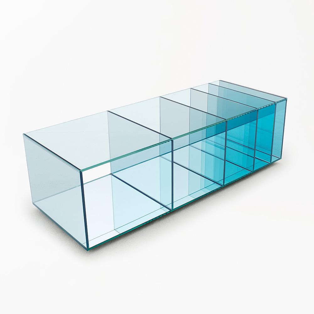Deep Sea blue glass shelving by Nendo for Glas Italia