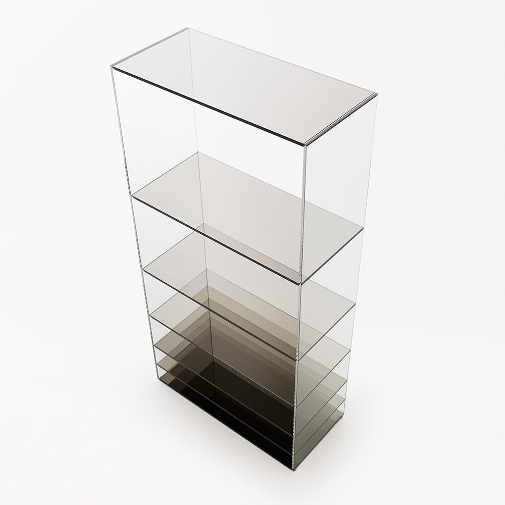 Deep Sea black glass shelving by Nendo for Glas Italia