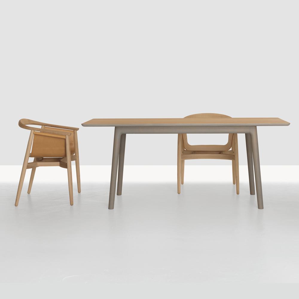 E8 Table colored wood Mathias Hahn Zeitraum