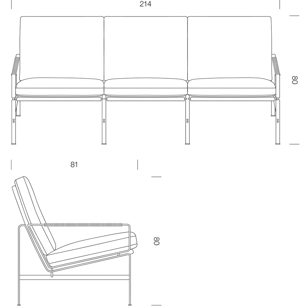 FK 6720 3-Seater designed by Fabricius/Kastholm for Lange Production