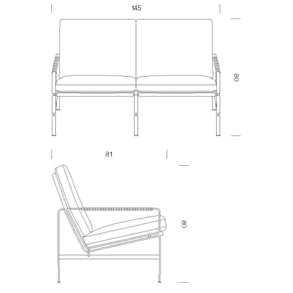 FK 6720 2-Seater designed by Fabricius/Kastholm for Lange Production
