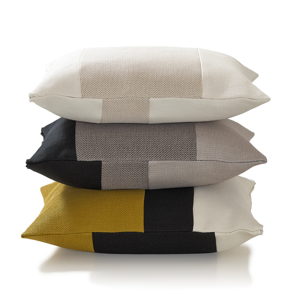 Rest Cushions Woodnotes ecofriendly pillows white stone black moss green grey goldenrod