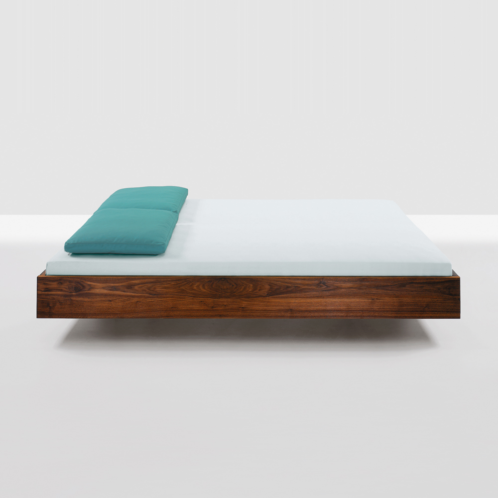 Simple floating platform bed designed by Formstelle for Zeitraum