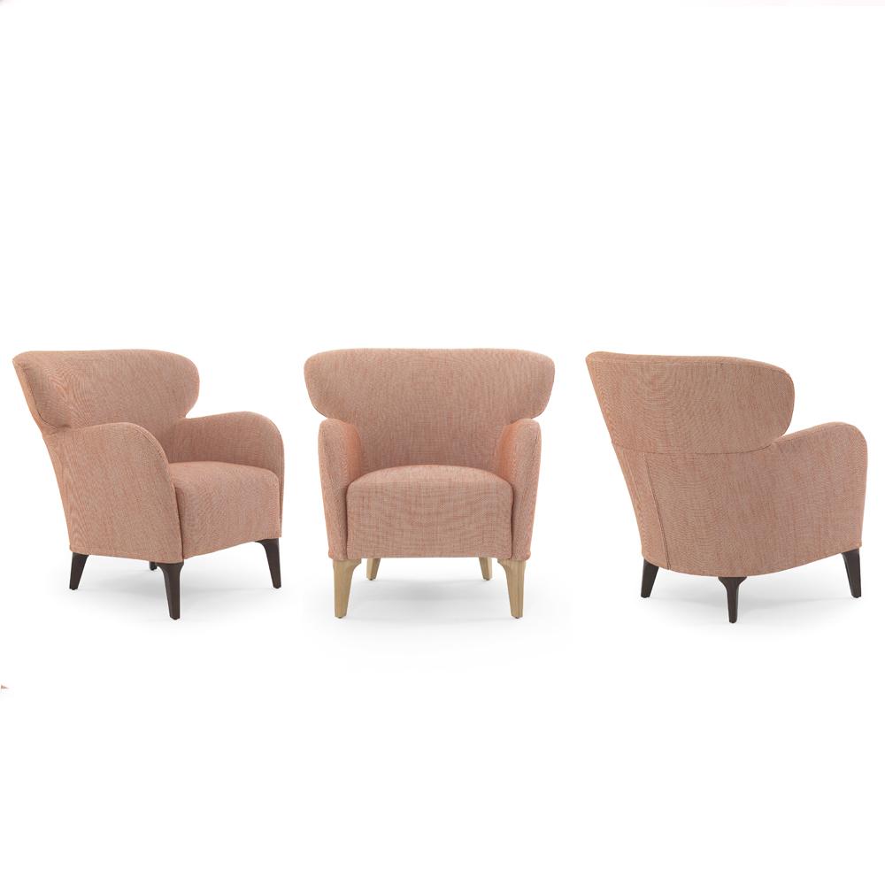 albereta armchair lounge sofa philippe nigro de padova depadova solid ash legs black walnut oak stained finish steel goosedown seat cushion fabric leather italy design italian shop suite ny