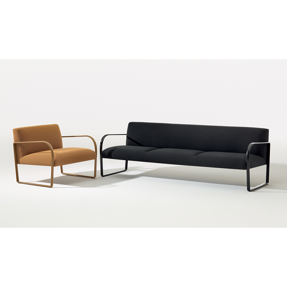 arper arcos armchair sofa lounge seating modern contemporary designer colored matching american upholstered minimalist midcentury style