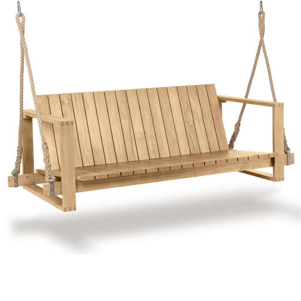 bk13 bodil kjaer carl hansen indoor outdoor midcentury modern danish designer wooden wood swinging hanging teak bench
