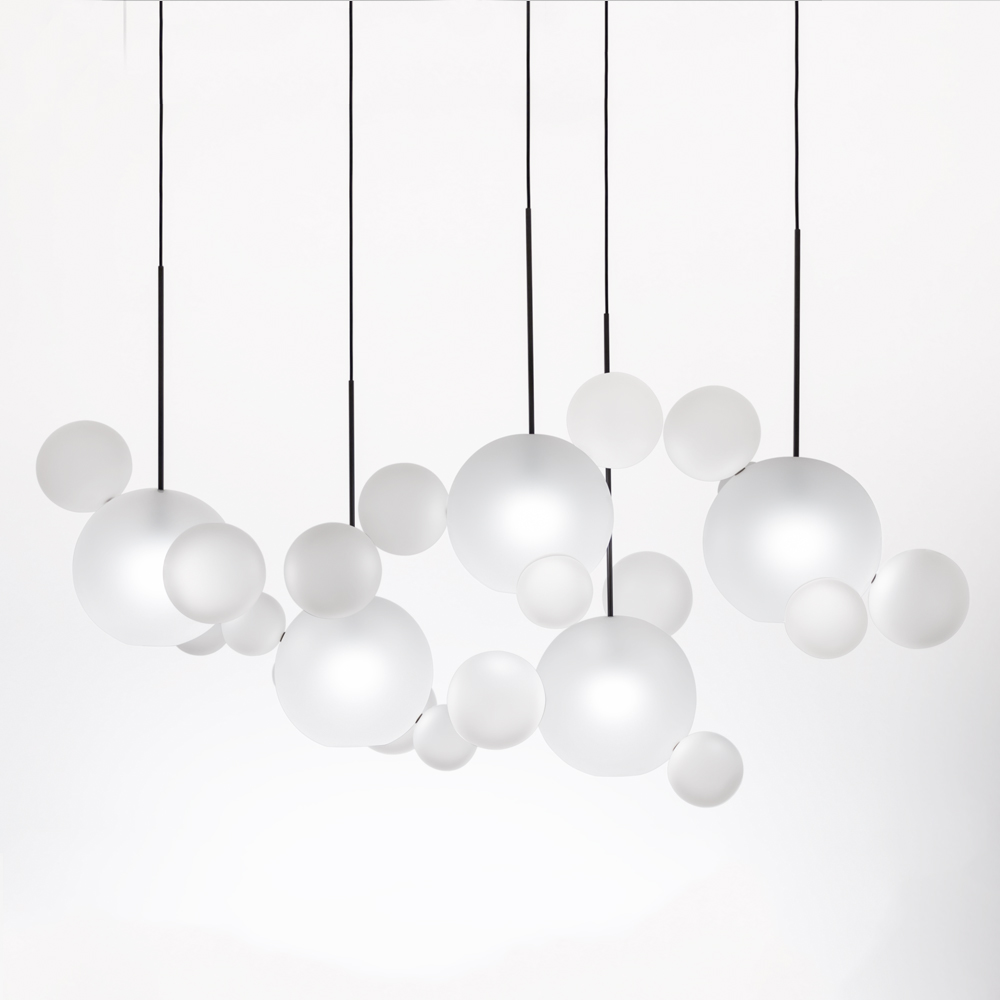giopato and coombes bolle lighting chandelier suspension lamp italian design borosilicate glass brass bubbles italy shop suite ny