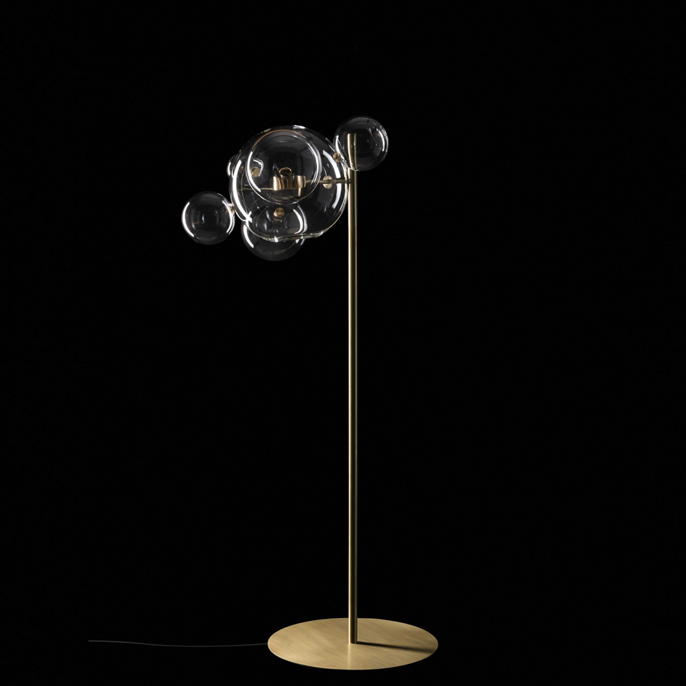 Bolle floor lamp Giopato Coombes glass bubbles brass