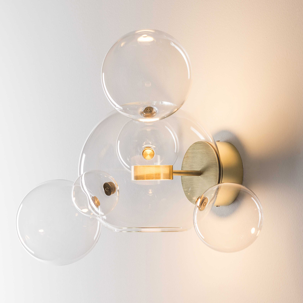 Bolle wall sconce Giopato Coombes brass clear glass ball wall light