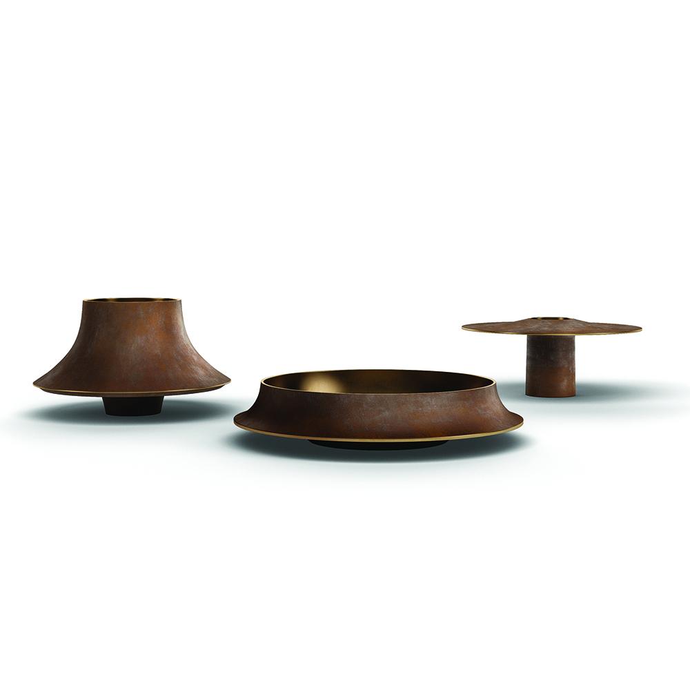 cap53 angelo mangiarotti agapecasa modern contemporary italian designer lost wax bronze vases