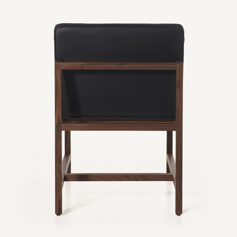 CB-51 wood leather dining chair BassamFellows black walnut