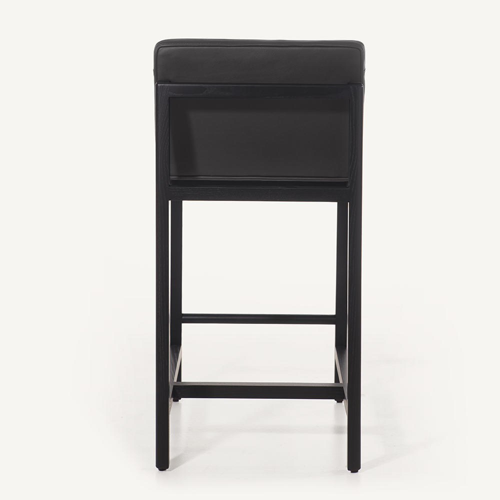 CB-542 wood leather stool BassamFellows black walnut
