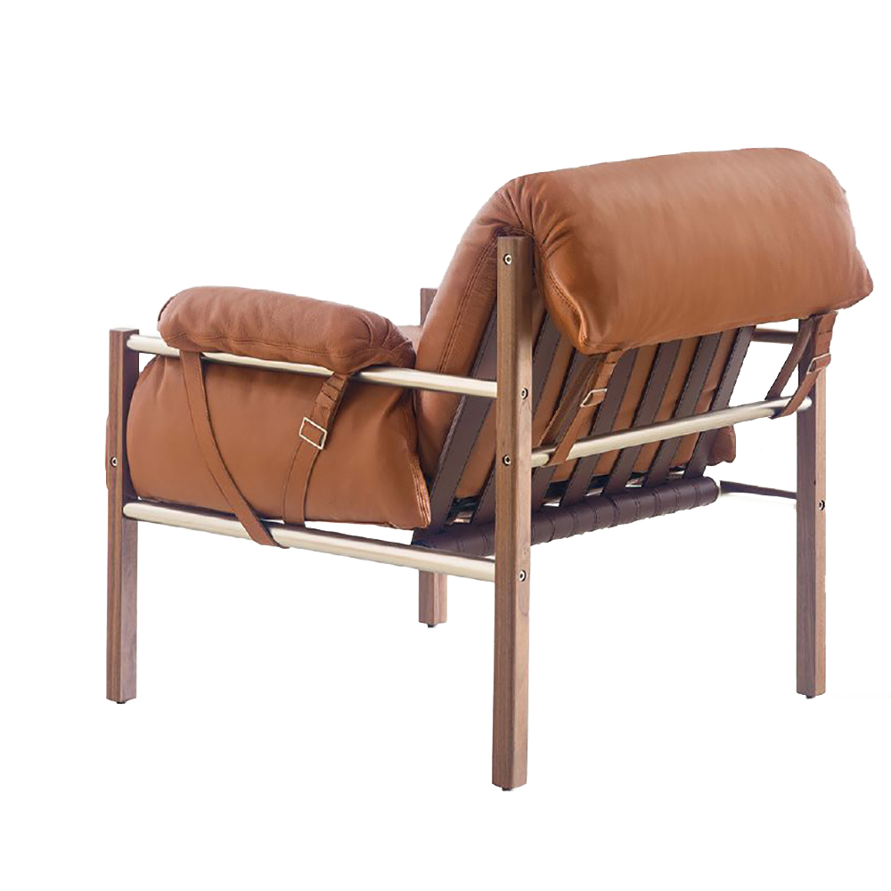 bassamfellows cb-570 sling club chair mid-century style contemporary modern upholstered leather american designer club chair lounge seating
