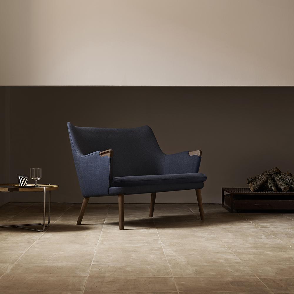 ch72 hans j wegner carl hansen and sons midcentury modern danish designer upholstered sofa couch wood legs