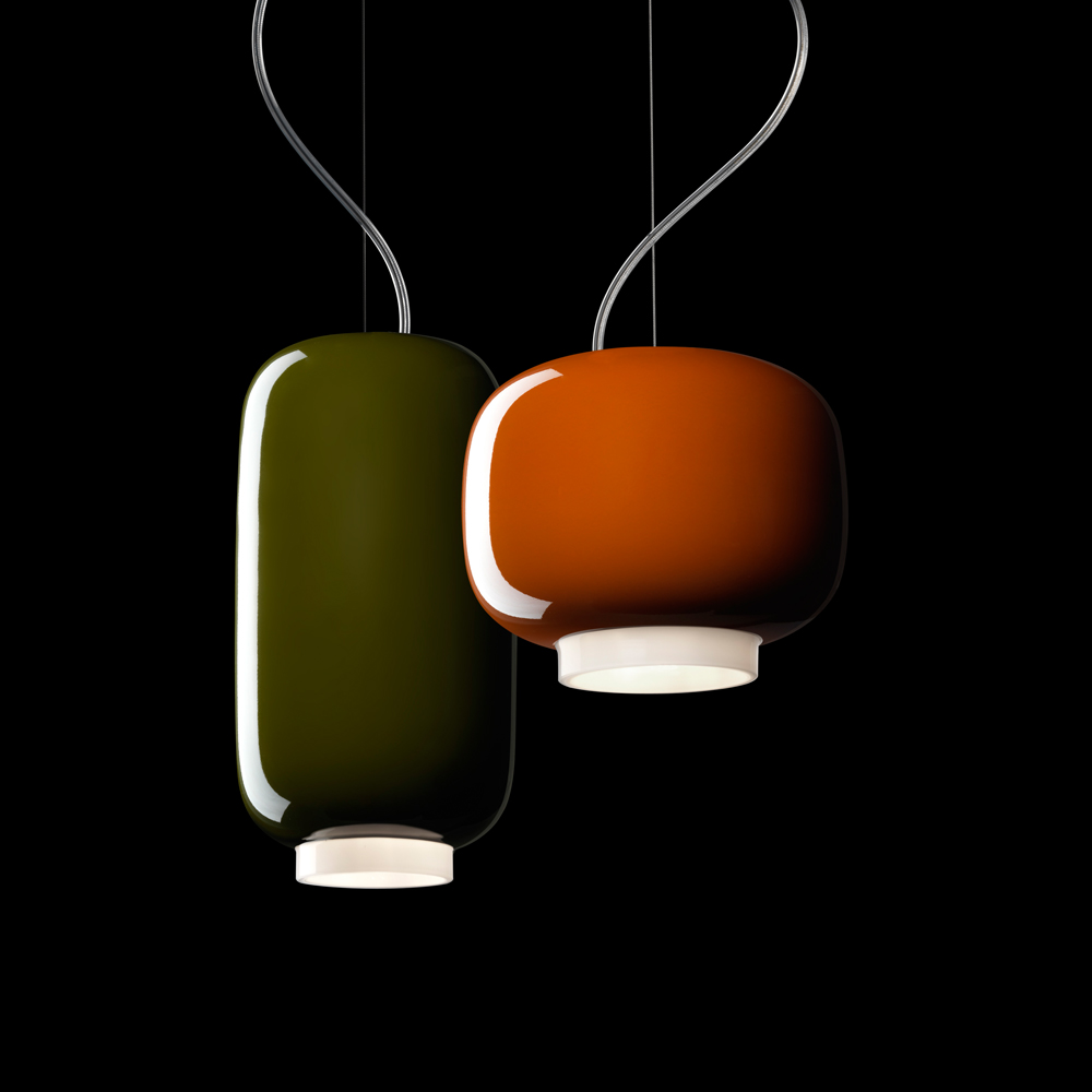 CHOUCHIN SUSPENSION LAMP IONNA VAUTRIN FOSCARINI PAIR ORANGE GREEN