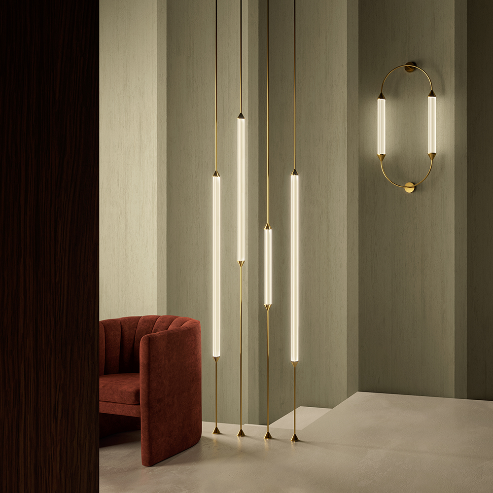 cirque pendant column vertical giopato coombes modern contemporary european italian designer brass slim minimalist floor lamp light lighting