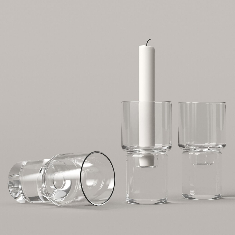 clessidra glass collection joe colombo karakter designer glass vases candleholders