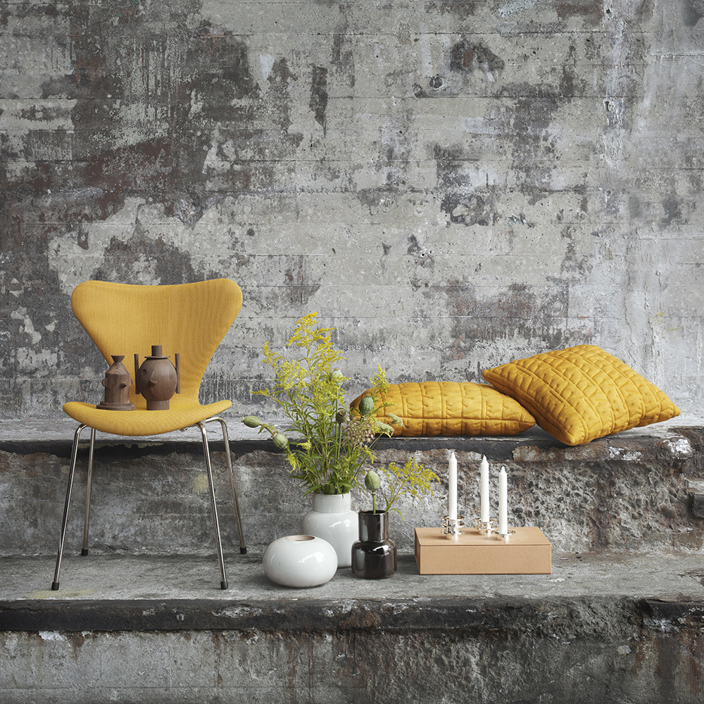 cushion arne jacobsen fritz hansen mid century modern designer ochre warm yellow earth tone pillow cushion