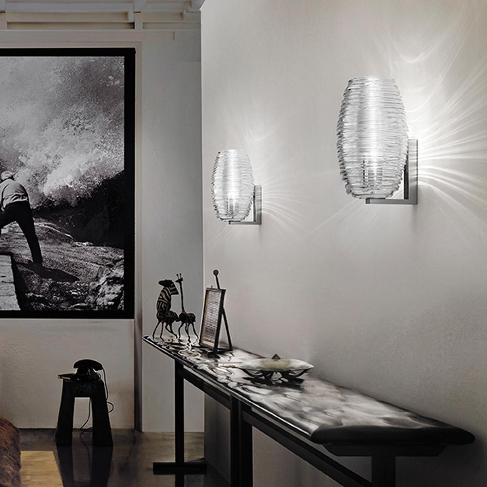 Damasco Paolo Crepax Vistosi italian designer glass wall sconce light