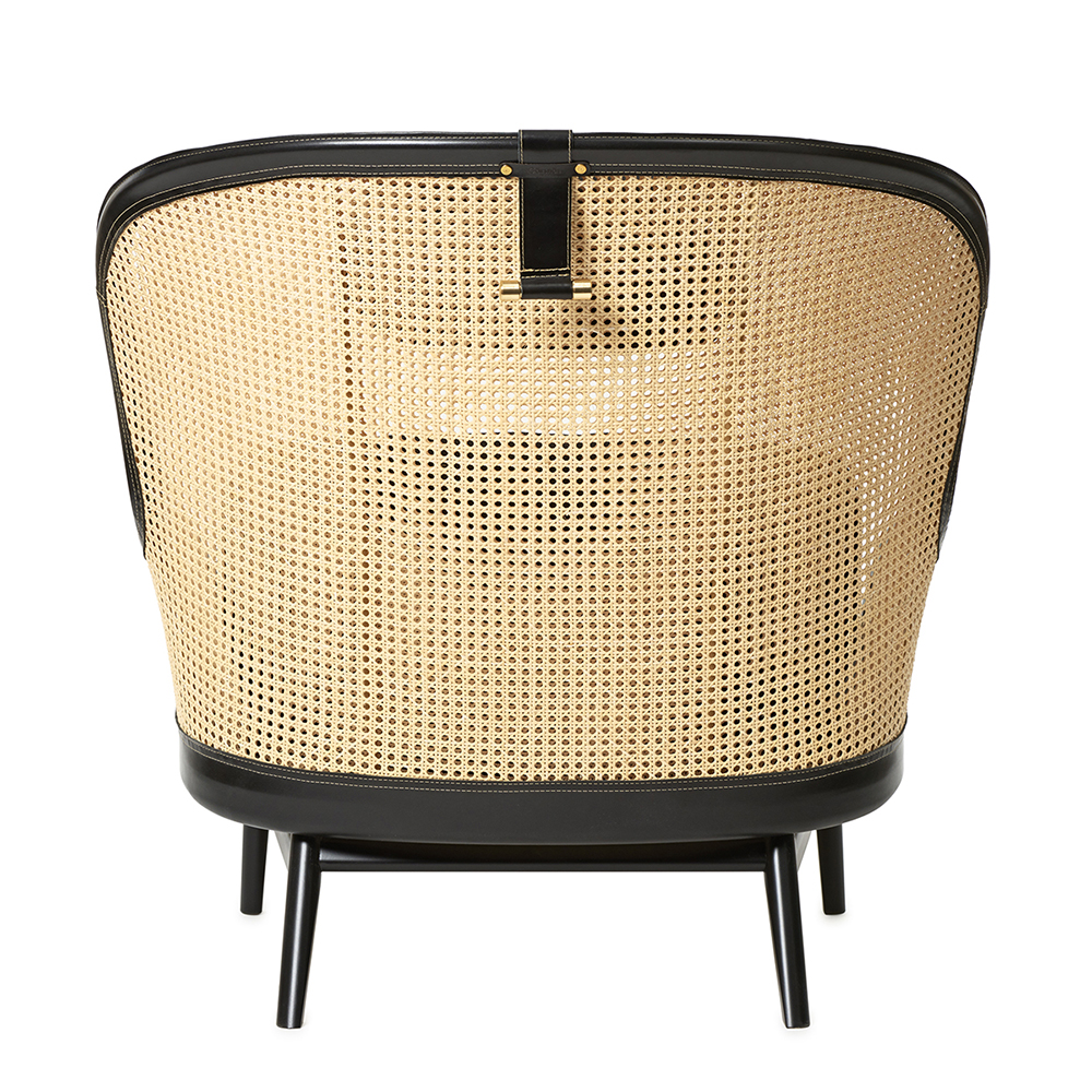 Dandy chair Pierre Sindre garsnas woven rattan leather armchair cognac