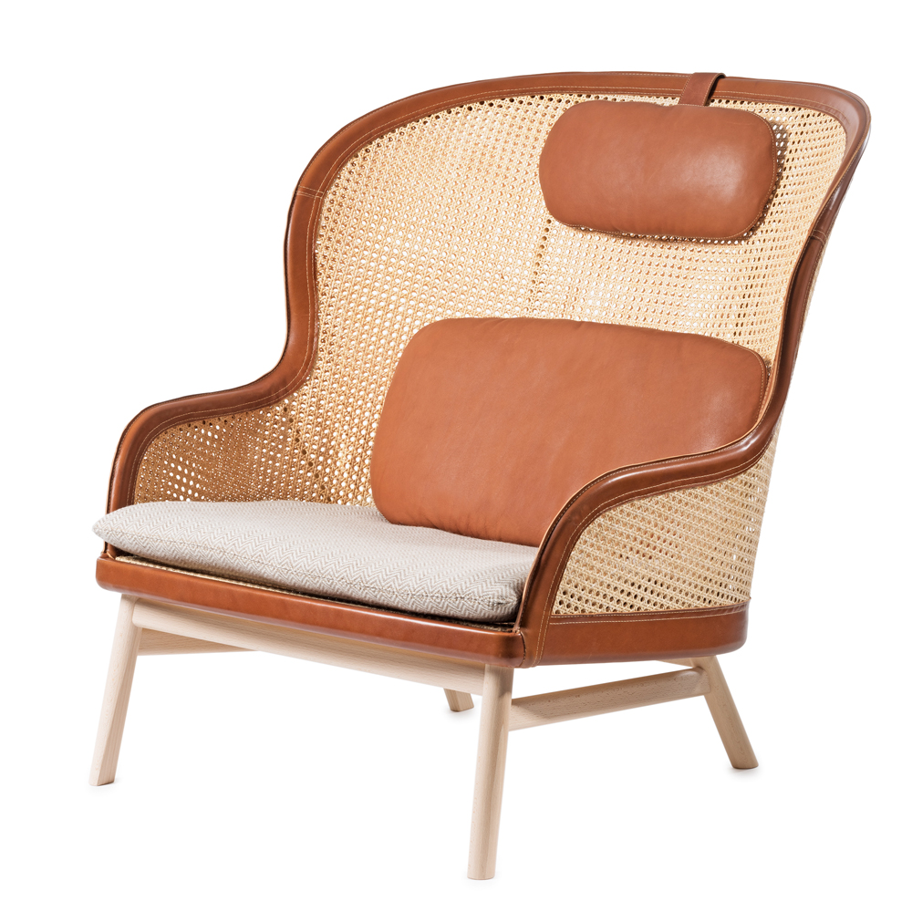 Dandy chair Pierre Sindre garsnas woven cane leather armchair cognac natural rattan