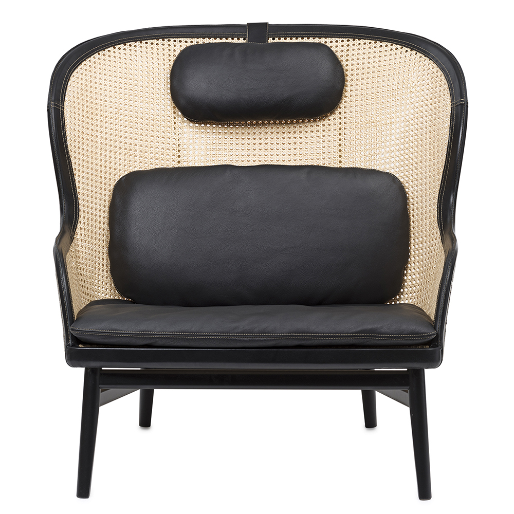 Dandy chair Pierre Sindre garsnas woven rattan black leather armchair cognac