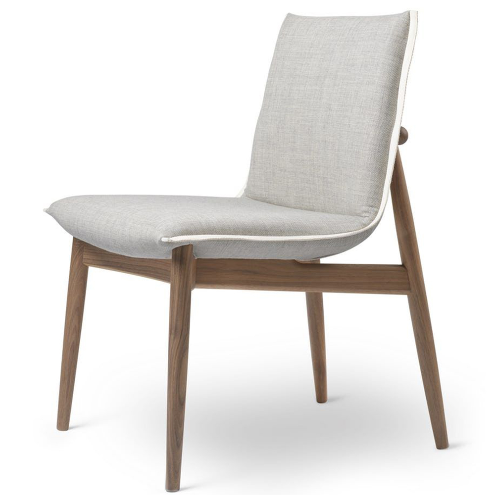e004 embrace chair eoos contemporary wooden designer danish upholstered armless dining chair