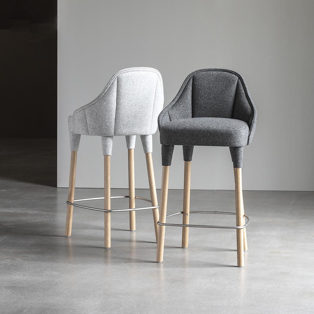 emily elin farg blanche garsnas modern contemporary european danish designer upholstered bar stool bar seating armrests