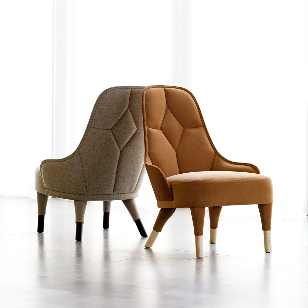 EMMA lounge chair garsnas farge blanche burn orange rust fabric