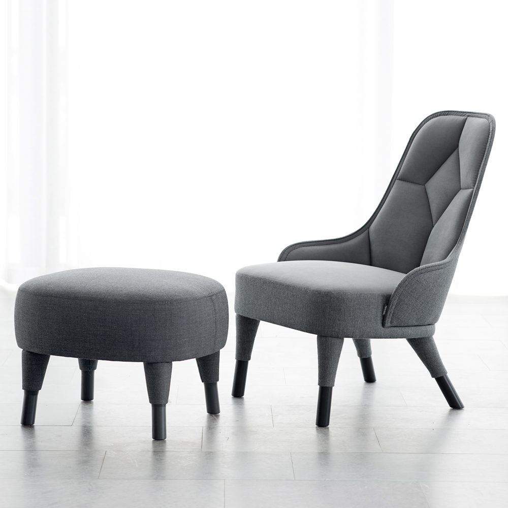 EMMA lounge chair garsnas farge blanche grey