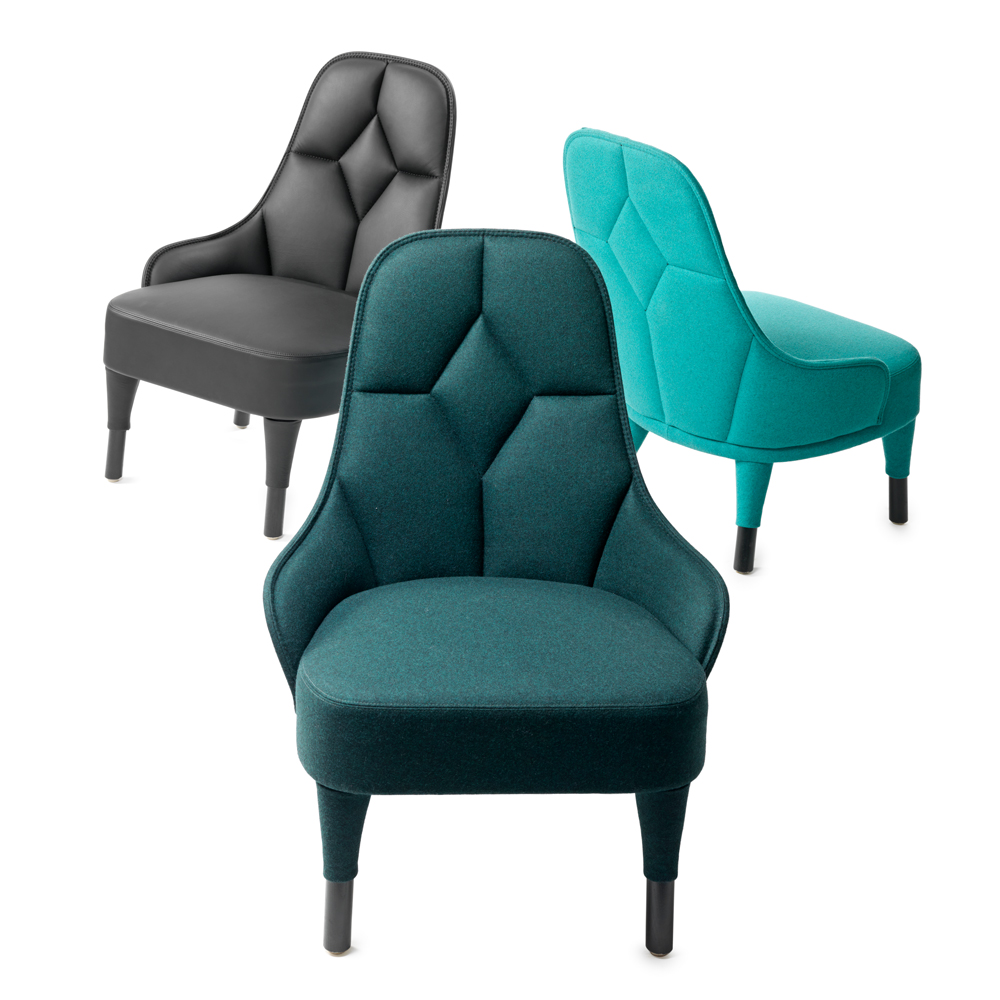 EMMA lounge chair garsnas farge blanche turquoise