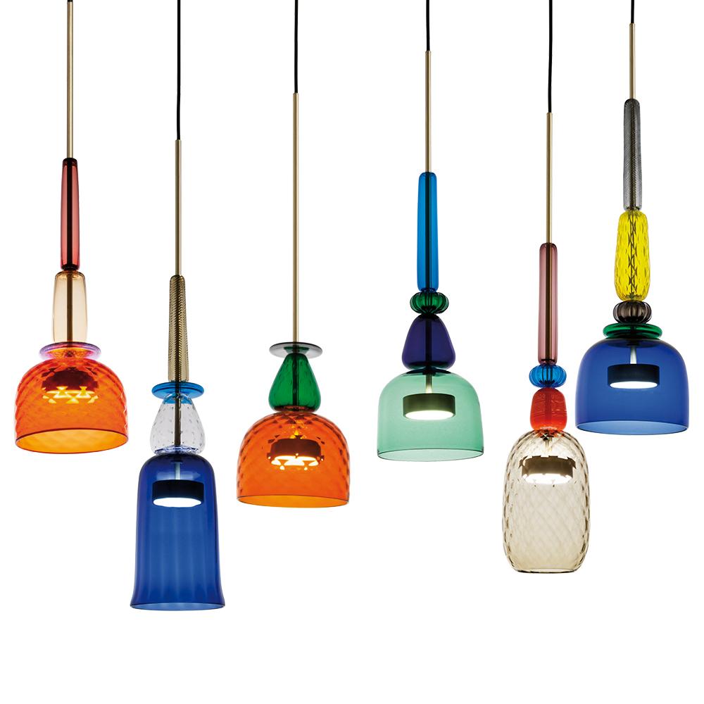 Giopato Coombes Flauti murano glass colorful pendant hanging light