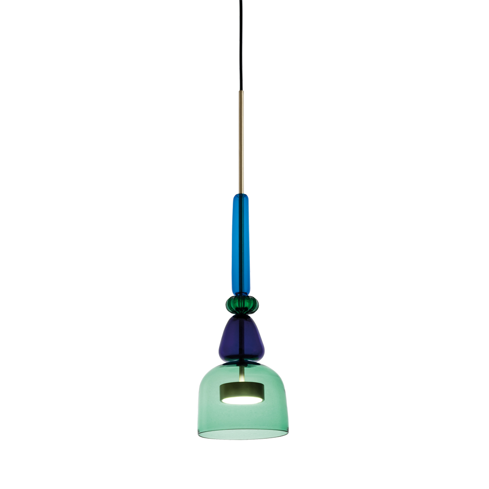 Giopato Coombes Flauti murano glass colorful pendant hanging light blue green