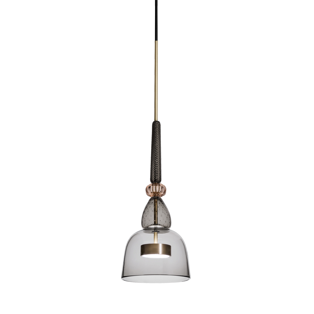 Giopato Coombes Flauti murano glass colorful pendant hanging light grey pink