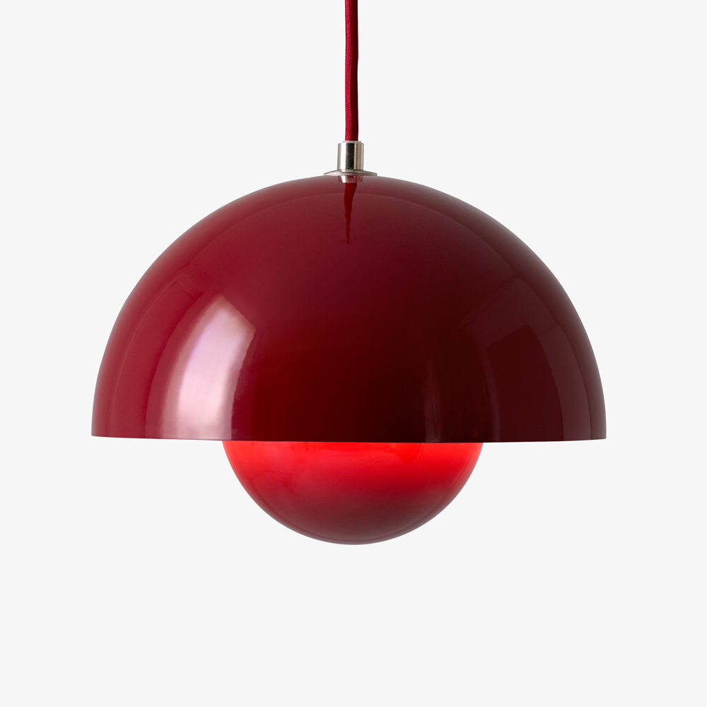 verner planton flowpot pendant deep red suite ny and tradition