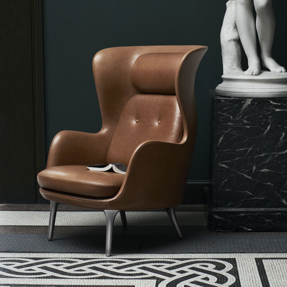 Ro Chair Jaime Hayon Fritz Hansen brown leather modern armchair
