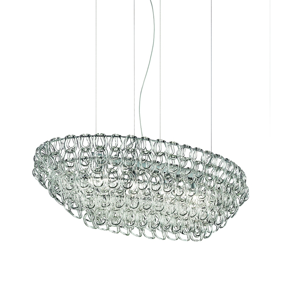 starnet suspension lighting gianni veneziano luciana di virgilio vistosi crystal metal chrome italy led source light glass