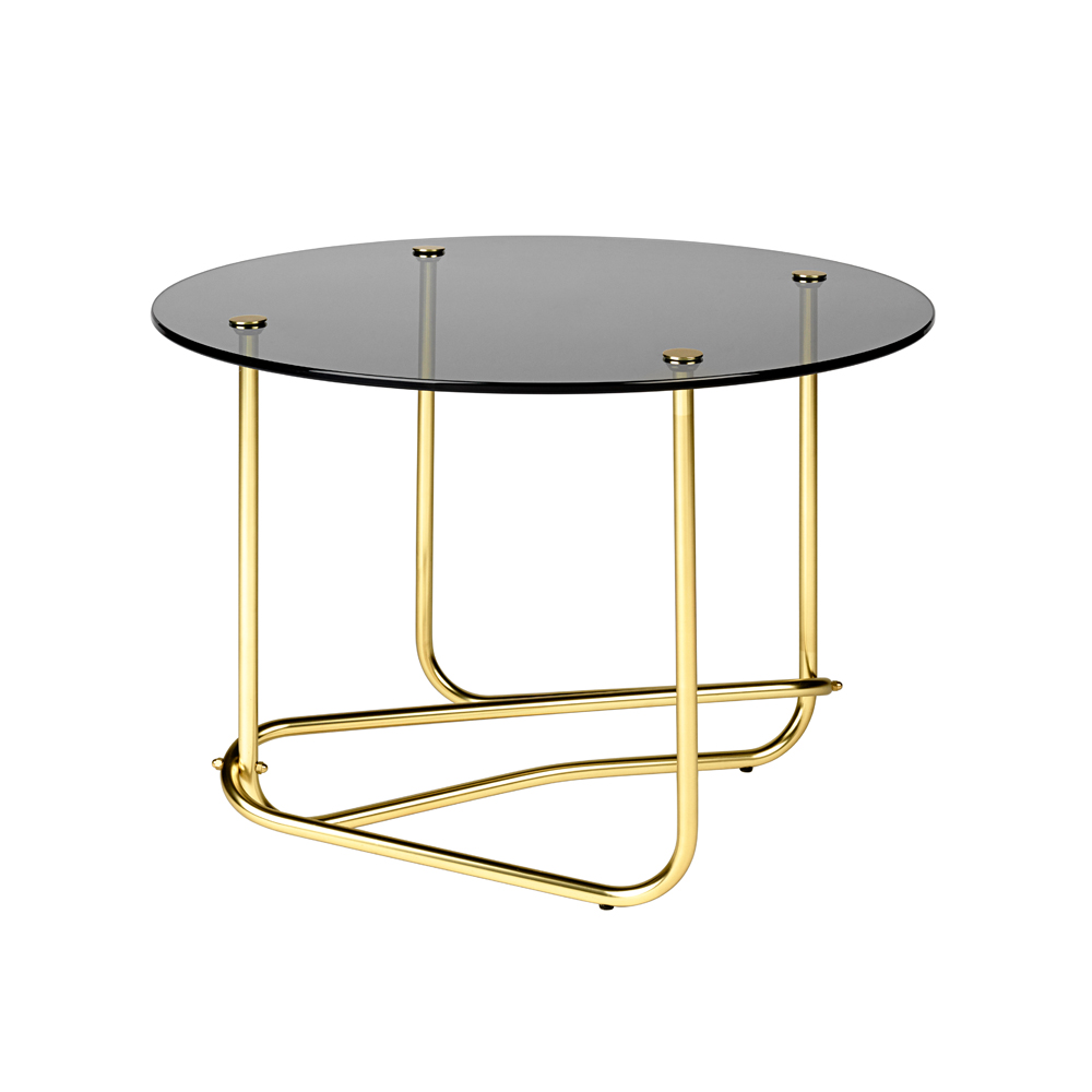 Mathieu Mategot glass coffee table gubi base base curved occasional table smoked glass