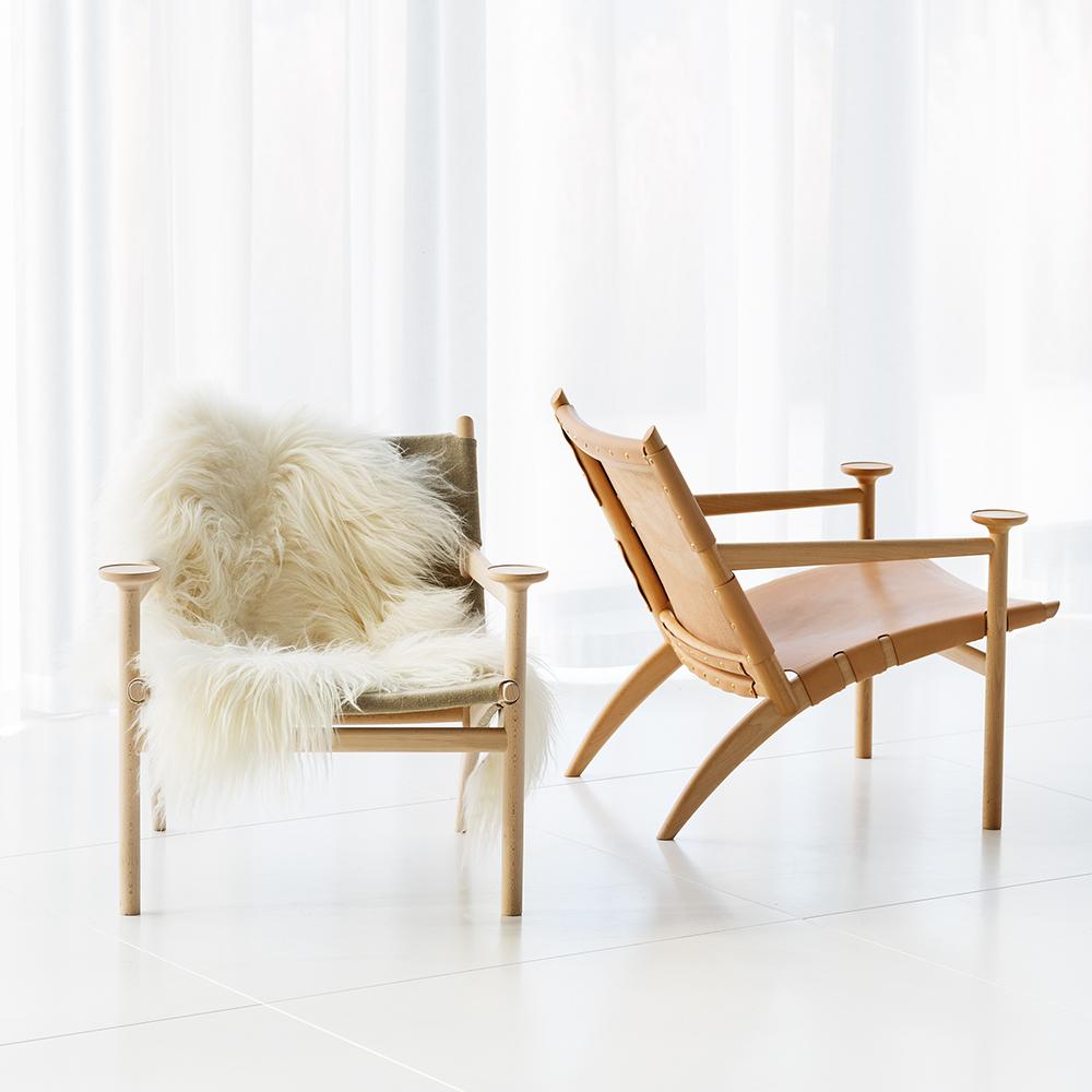 Hedwig David Ericsson Garsnas modern wood leather armchair swedish designer fur throw