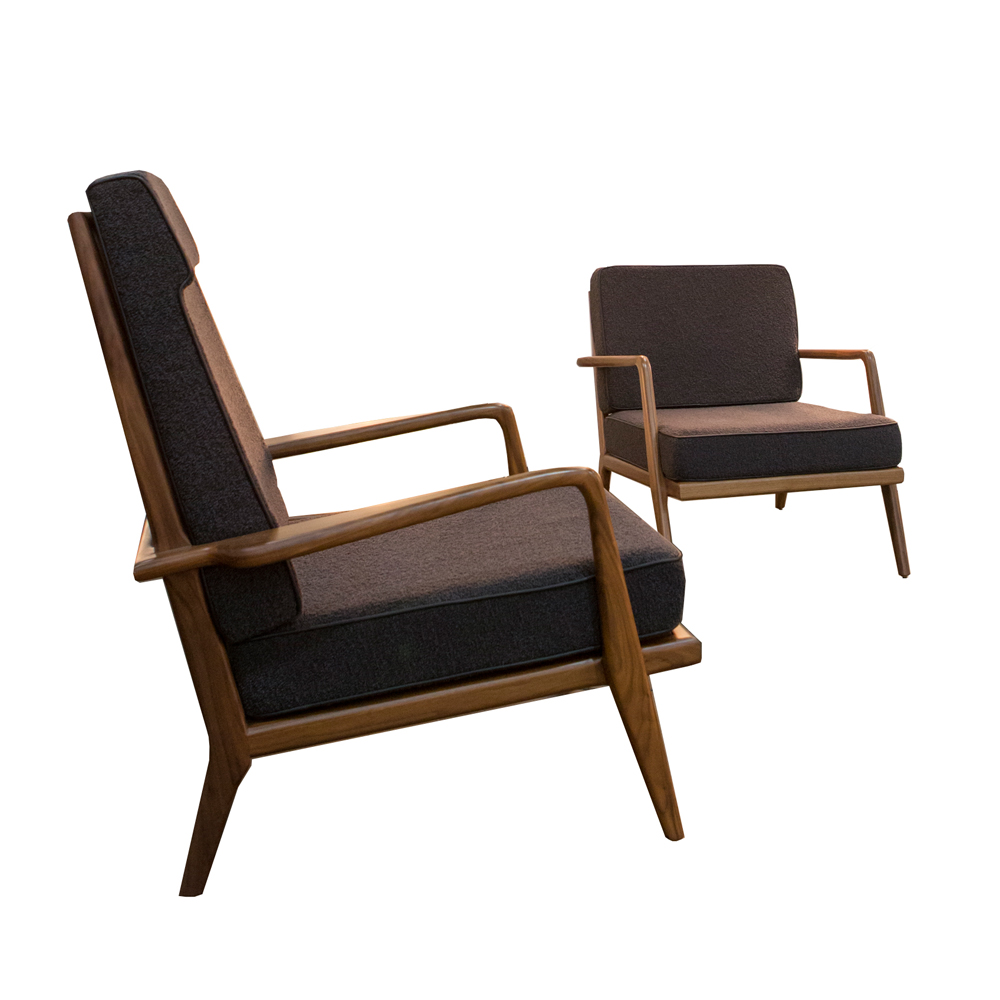 high back rail armchair mel smilow solid walnut ebonized natural finish upholstered foam cushions leather america design enduring modern classics shop suite ny