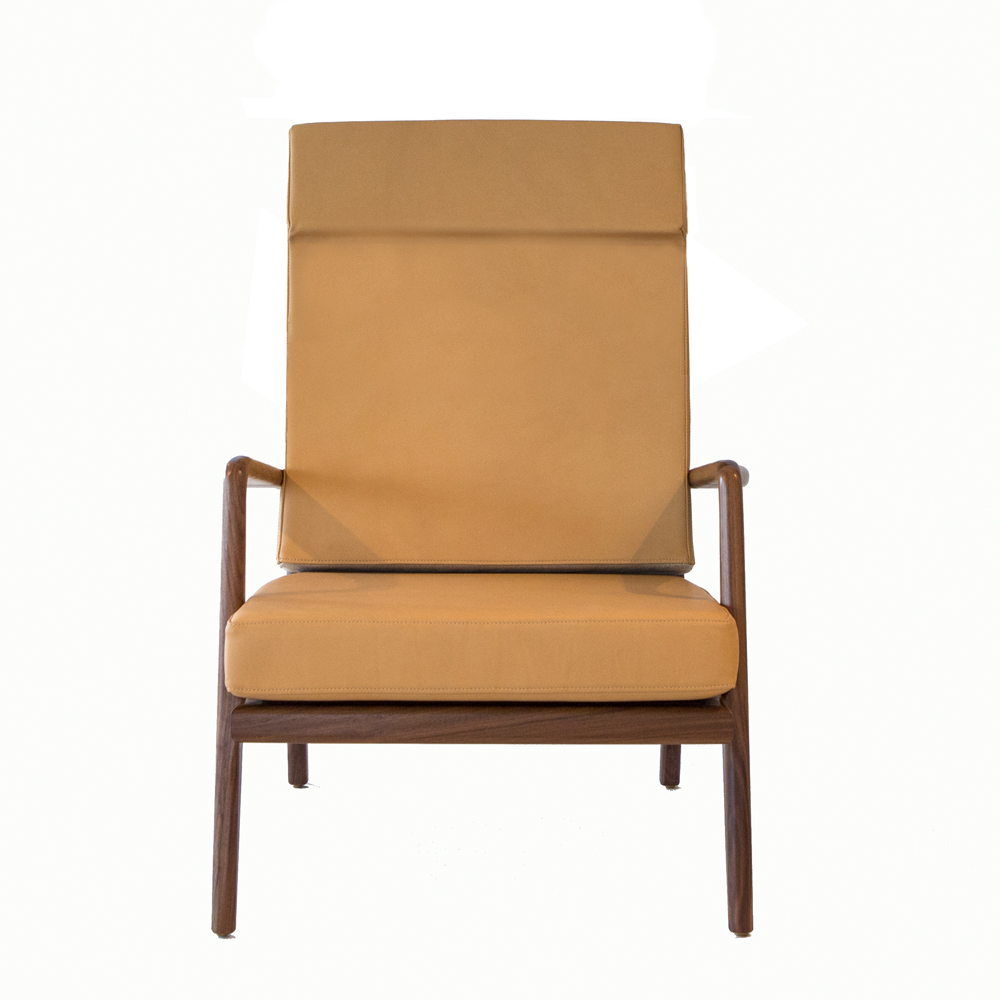high back rail armchair mel smilow solid walnut leather natural finish upholstered foam cushions leather america design enduring modern classics shop suite ny