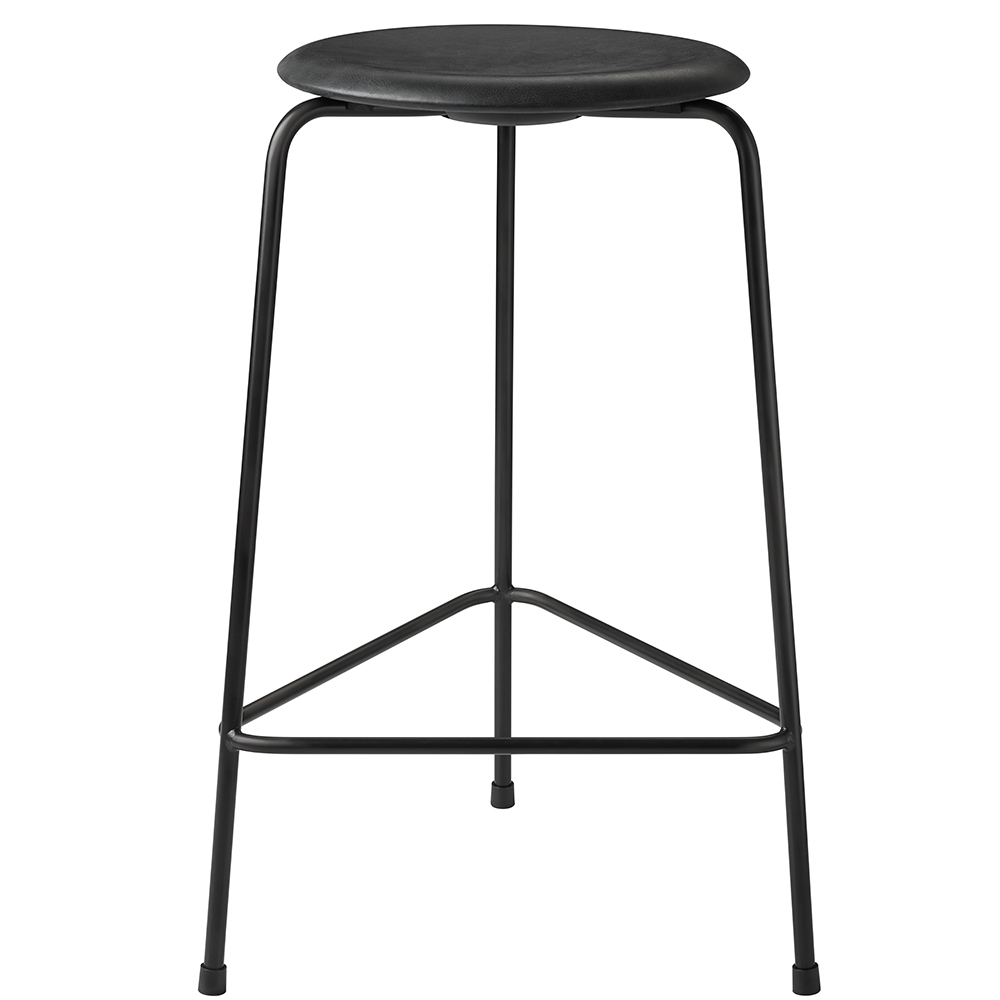 high dot counter stool arne jacobsen fritz hansen contemporary modern designer black leather counter stool