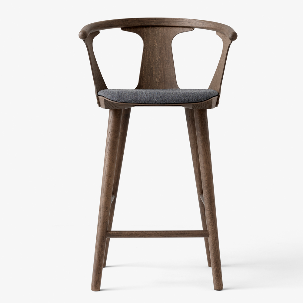 IN BETWEEN BARSTOOL SMOKED OAK GREY UPHOLSTERED SEAT