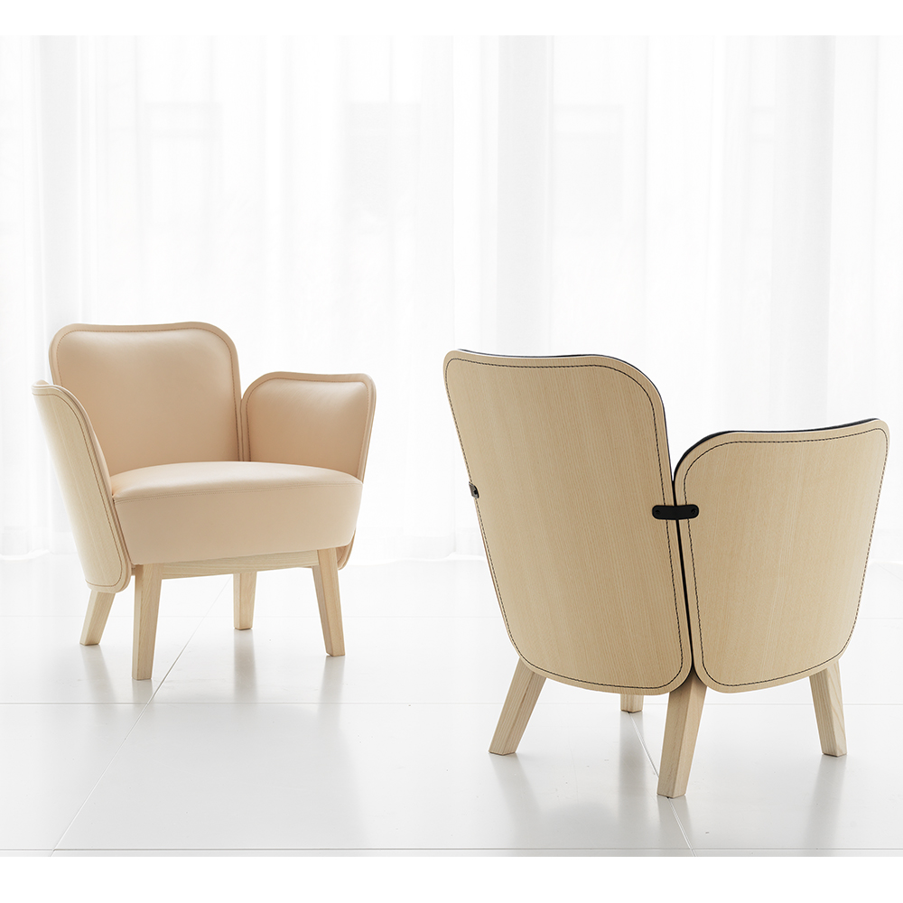 julius easy chair farg blanche garsnas mdoern upholstered lounge chair ecofriendly wood stitching peach
